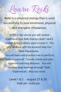 Usui/Holy Fire Reiki Class - Level 1 and 2 @ Yellow Cottage Studios